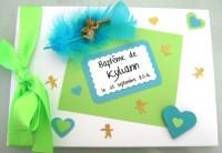 Livre d'or baptême «Ange et coeur turquoise et anis»