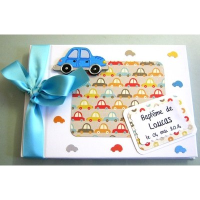 Livre d 39 or bapt me gar on th me voiture bleu atelier du - Idee theme bapteme garcon ...