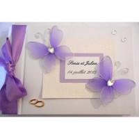Livre d'or de mariage «papillons mauves»