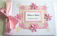 Livre d'or de mariage «fleurs vichy rose»