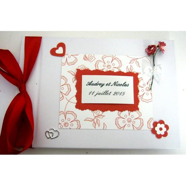 Livre d 39 or mariage rouge et blanc atelier du livre dor - Idee livre d or mariage ...