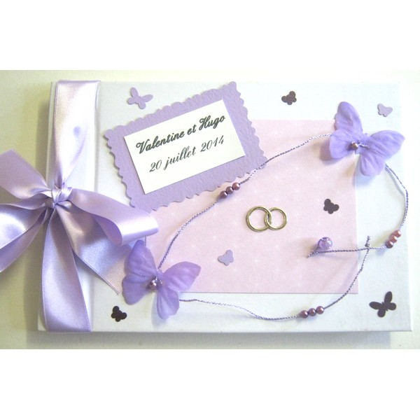 Livre d 39 or mariage personnalis th me papillons mauves atelier du livre dor - Livre d or personnalise mariage ...