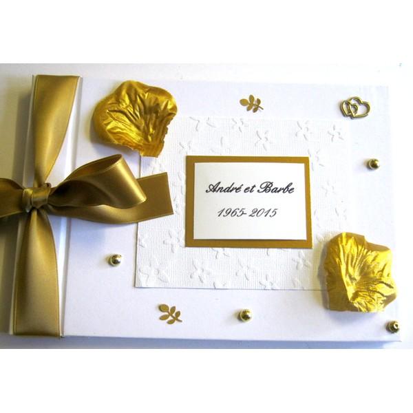 Livre d 39 or pour noces d 39 or livre d 39 or 50 ans atelier du livre dor - Cadeau 50 ans de mariage noces d or ...