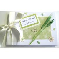 Livre d'or de mariage «épis de blé verts»