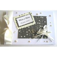 Livre d'or de mariage «fleurs et perles nacrées»