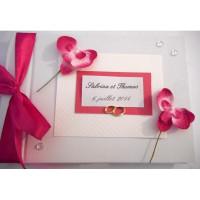 Livre d'or de mariage «orchidées fuchsia»