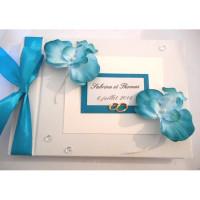 Livre d'or de mariage «orchidées turquoise»