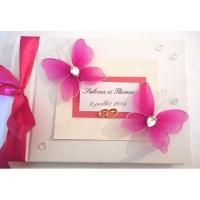 Livre d'or de mariage «papillons fuchsia»