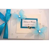 Livre d'or de mariage «papillons turquoise»