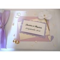 Livre d'or de mariage thème parme et orchidée