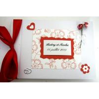 Livre d'or de mariage «coeur et fleur rouge et blanc»