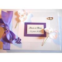 Livre d'or de mariage «mauve et orchidées»