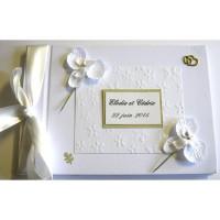 Livre d'or mariage «orchidées blanches»