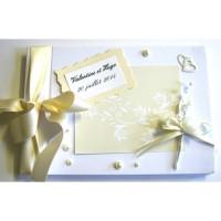Livre d'or mariage «fleurs et perles ivoires»