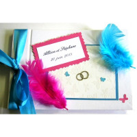 Livre d'or de mariage «plumes turquoise et fuchsia»